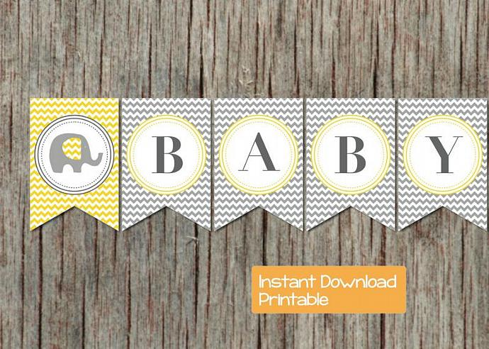 Baby Shower Banner Oh Baby! Grey Yellow Elephant Printable Party Digital DIY Boy
