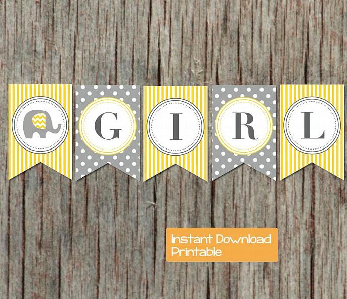 Yellow Grey Baby Shower Decorations Banner Elephant Printable Baby Shower Party