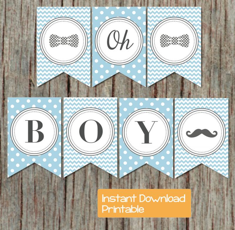 Baby Shower Banner Ideas Diy ~ Boy oh printable baby shower by bumpandbeyonddesigns on zibbet