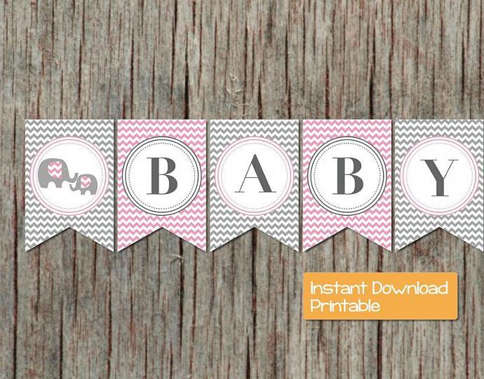 Digital Baby Shower Banner Pink Grey Elephant Girl Shower Banner Printable DIY