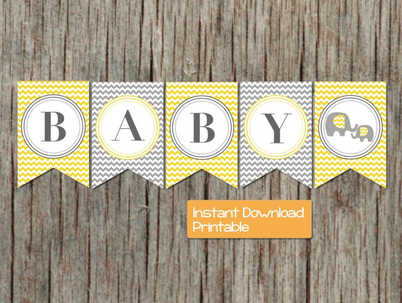 picture regarding Printable Baby Shower Banners known as Boy or girl Shower Banner Yellow Gray Chevron Elephant Printable Electronic Do-it-yourself pdf Child Shower Banner Social gathering Materials Decorations Boy Female 42