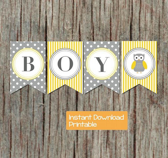 yellow grey baby shower banner owl printable decorations diy baby shower digital