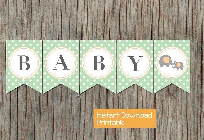 Digital Baby Shower Banner Elephant Printable DIY pdf Baby Shower Party