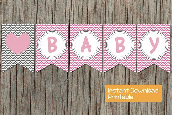 photo relating to Printable Baby Shower Banners titled Electronic Printable Child Shower Banner Gum Red Gray Chevron Oh Little one Do it yourself Lady Kid Shower Social gathering Resources Decorations Banner 006