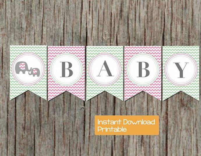 Baby Shower Banner Mint Green Pink Chevron Elephant Printable DIY pdf Sweet Baby