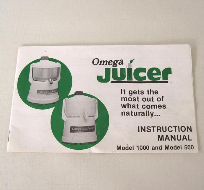 Omega Juicer 1000 500 Instruction Manual Vintage