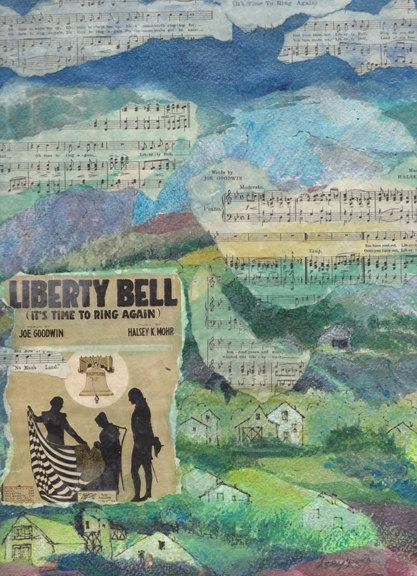 Collage featuring WW1 music, original painting, signed, Liberty Bell, Flag
