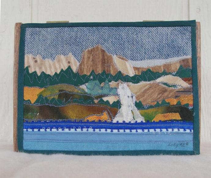 Cigar box decorated with a fabric collage of Twin Lakes, Mammoth Lakes CA,,
