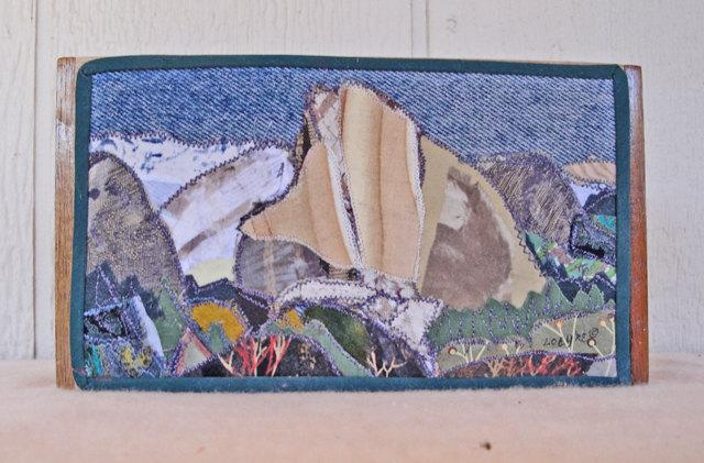 Box, decorated lid with fabric collage, Landscape, Eastern Sierra, SIGNED, 7.75