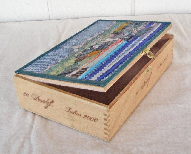 Twin Lakes, Mammoth Lakes, CA, fabric collage on lid of Cigar box,  landscape,