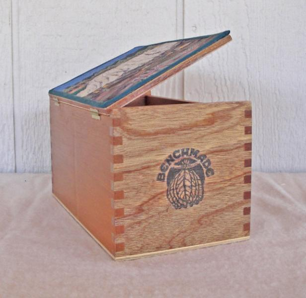 Cigar box with fabric collage lid, Devils Post Piles in Mammoth Lakes, CA.,