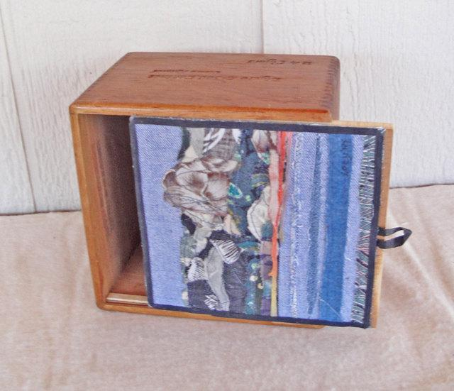 Cigar Box with sliding lid, decorated with a fabric collage, SIGNED, 6 X 6.5 X