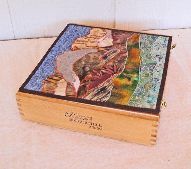 Cigar box decorated fabric collage, landscape, McGee Cyn, Mammoth Lakes Eastern