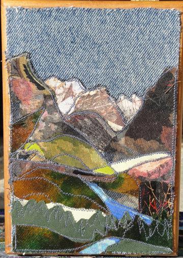 Big Pine, Easterm Sierra, CA,  cigar, box, fabric collage, landscape, 5 x 7 x