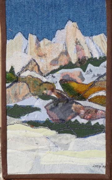 Mt. Whitney, side opening,  ciga,r box, decor, fabric collage,  4.5 x 8 x 5.5