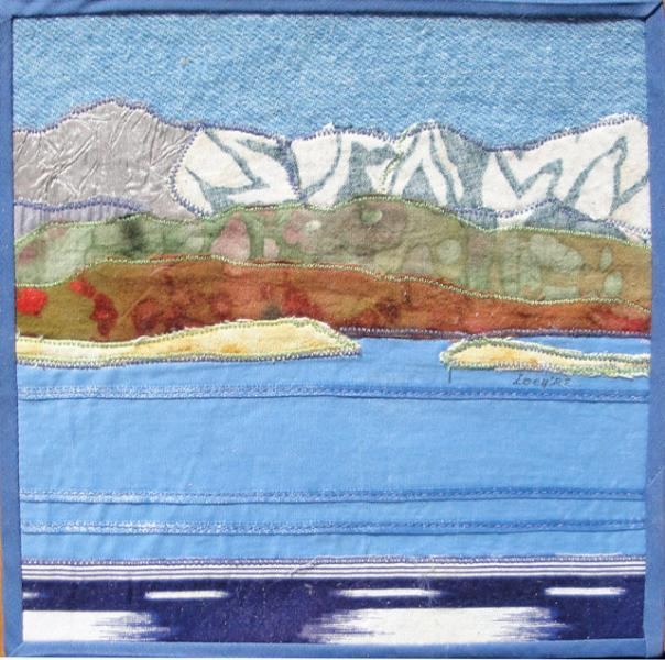 Crowley Lake, Eastern Sierra, Cigar gift box, fabric landscape, 7.25 x 7.75 x