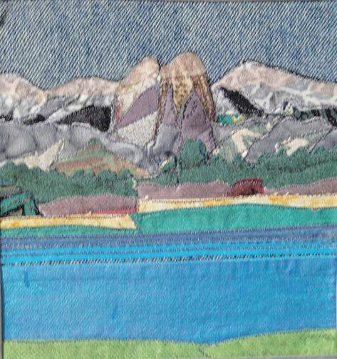 Crystal Crag in the Mammoth Lakes area. fabric collage, cigar box, 7.25 x 7.5 x