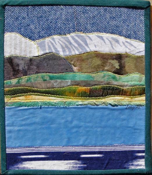 Crowley Lake, CA, fabric collage on cigar box 6.5 x 5.75 x 2.5