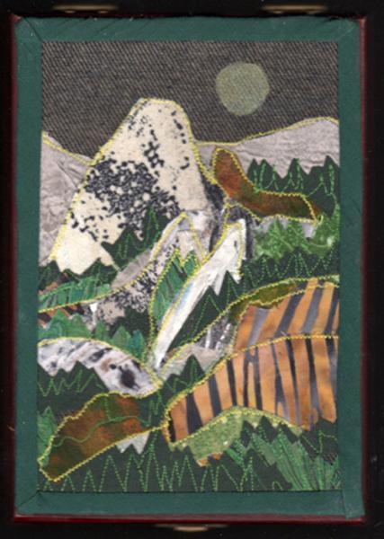 Nevada Falls, Yosemite,CA., fabric collage on Cigar box
