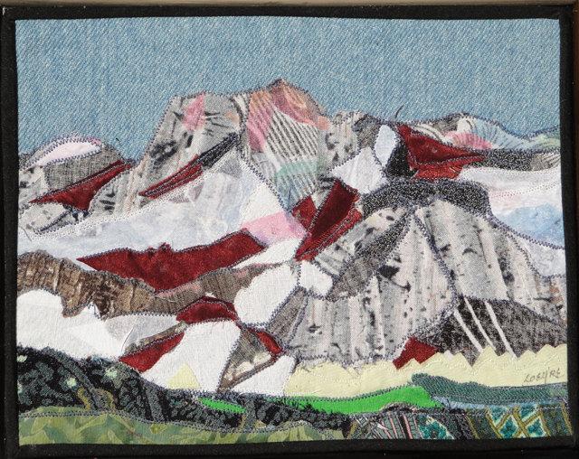 Mt. Humphery, Eastern Sierra - Fabric collage on a cigar box