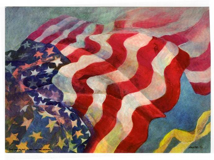 Patriotic Lithograph print of the USA flag, yellow ribbon symbol, 12 x 16, 5x7,