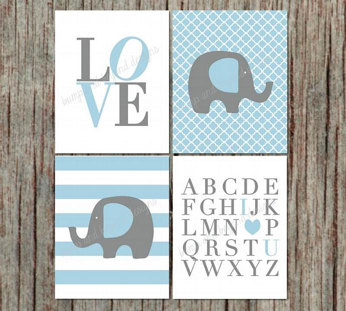 NURSERY ART Room Decor Elephant ABC's I Love You Set of 4 Digital Files Baby Boy