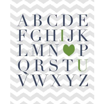 Printable NURSERY WALL ART Blue Green Boy Nursery Bedroom Wall Art Digital ABCs