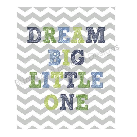 NURSERY WALL ART Baby Boy Nursery Decor Printable Wall Art Dream Big Little One