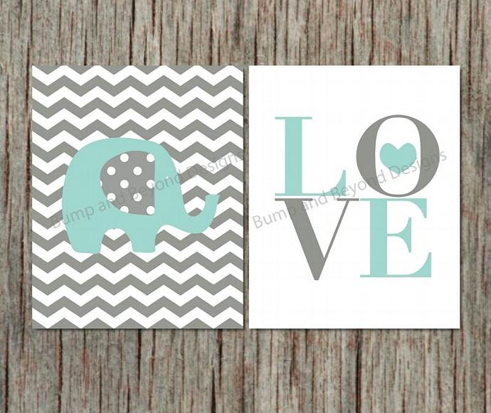 Elephant Wall Art Nursery Decor Printable Nursery Wall Art Boy Kid Bedroom  Light