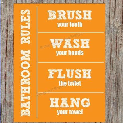 Bathroom Rules BATHROOM WALL ART Wash your hands Brush your teeth Hang your