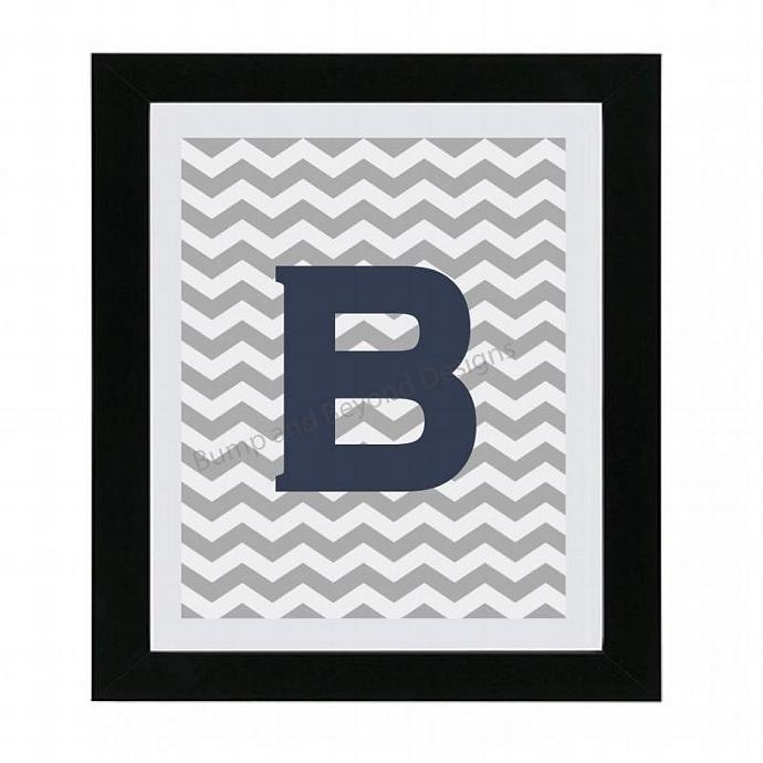 Initial Monogram NURSERY WALL ART Nursery Decor Digital Boy Girl Chevron Digital