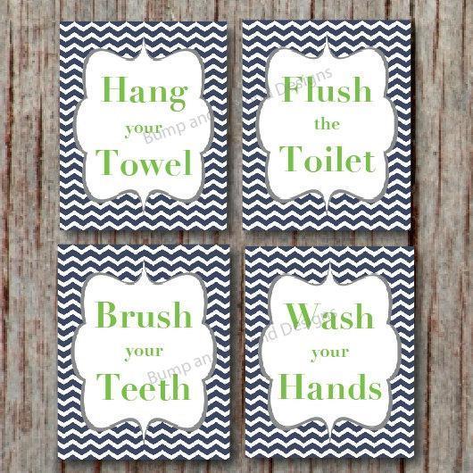 BATHROOM WALL ART Children Bathroom Decor Wash your hands Brush your teeth