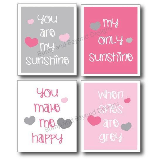 You Are My Sunshine NURSERY WALL ART Pink and Grey Girl Toddler Room Decor Set