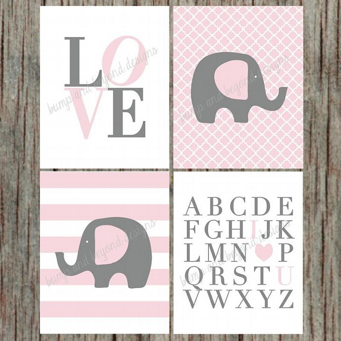 Digital Girl Nursery Wall Art Set of 4 Printable Elephant Love ABC's Digital