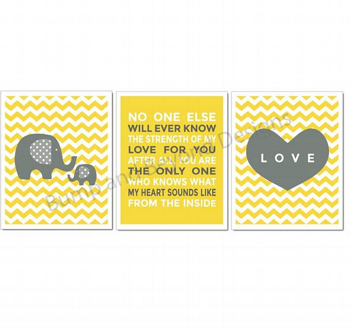NURSERY WALL ART Yellow Grey Elephant Set of 3 Baby Girl Boy Nursery Room Decor