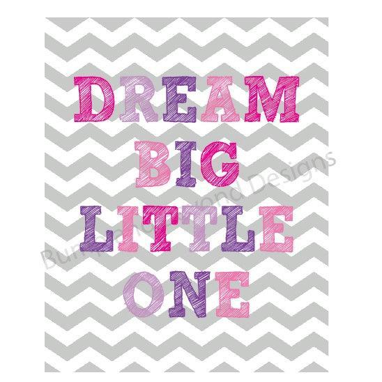 NURSERY WALL ART Nursery Decor Baby Girl Printable Wall Art Dream Big Little One
