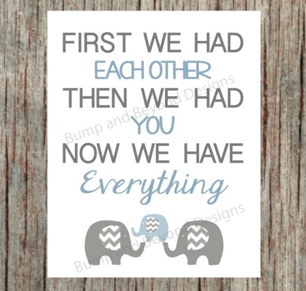Digital Blue Grey Elephant NURSERY WALL ART Baby Boy Kids Room Decor Nursery