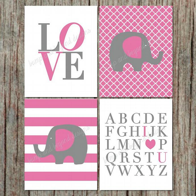 Digital Printable Nursery Wall Art Elephant ABC's I Love You Set of 4 Digital