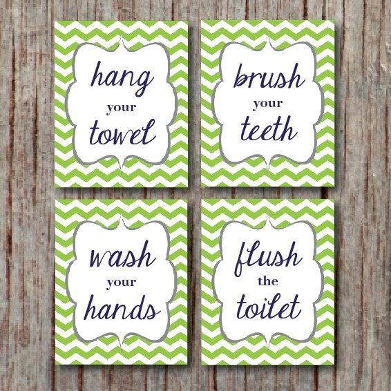 BATHROOM WALL ART Kids Bathroom Wall Art Wash your hands Brush your teeth Hang