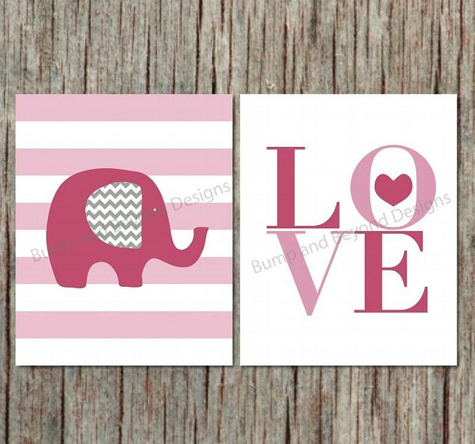 Hot Pink Elephant Nursery Wall Art Decor Digital Printable Girl Nursery Kid