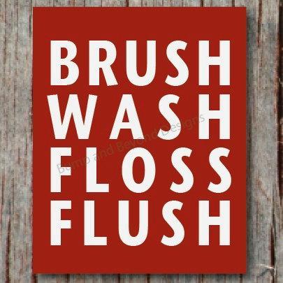 Custom BATHROOM DECOR Kids Bathroom Wall Art Digital Printable Brush Wash Floss