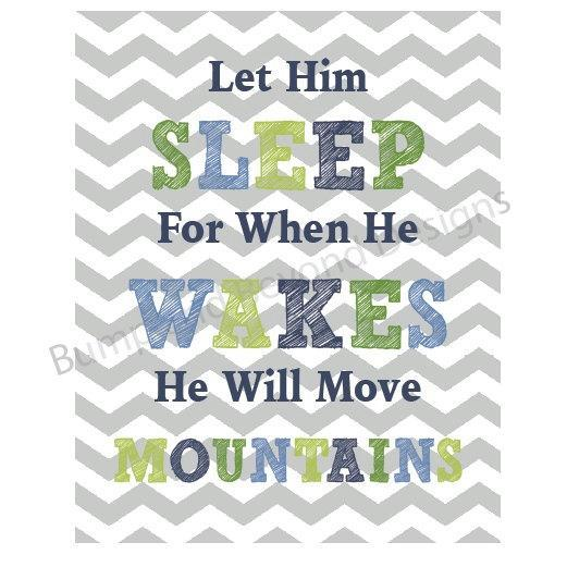 NURSERY WALL ART Digital Baby Boy Nursery Decor Let Him Sleep For When He Wakes