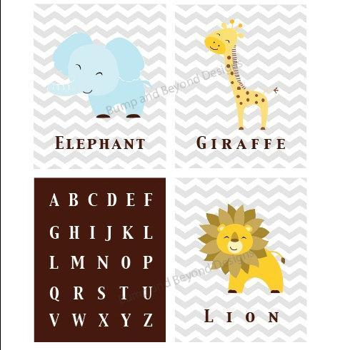 NURSERY WALL ART Jungle Safari Animal Prints Childrens Bedroom Wall Art Digital