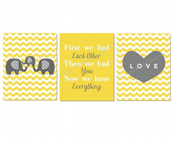 NURSERY ART First We Had Each Other Yellow Grey Elephant Set of 3 Nursery Wall