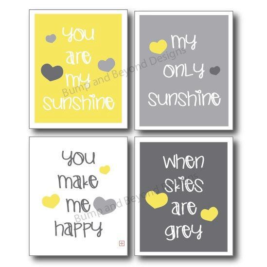 Yellow and Grey NURSERY WALL ART Room Decor You Are My Sunshine Set of 4 Digital