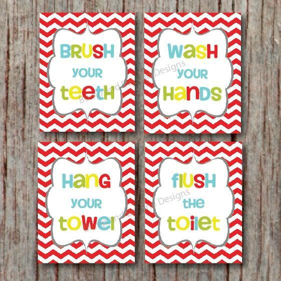 BATHROOM WALL ART Kids Bathroom Decor Wash your hands Brush your teeth Digital