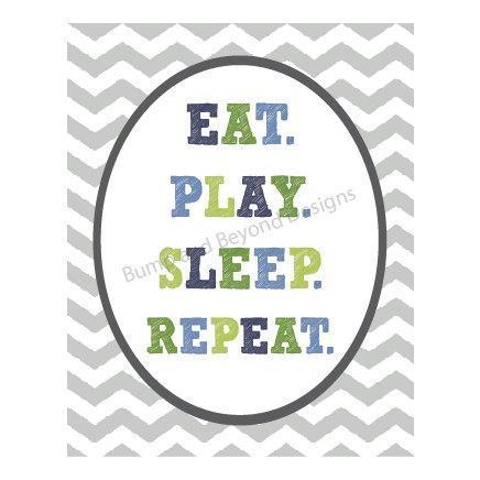 Printable NURSERY WALL ART Boy Child's Bedroom Wall Art Eat Play Sleep Repeat