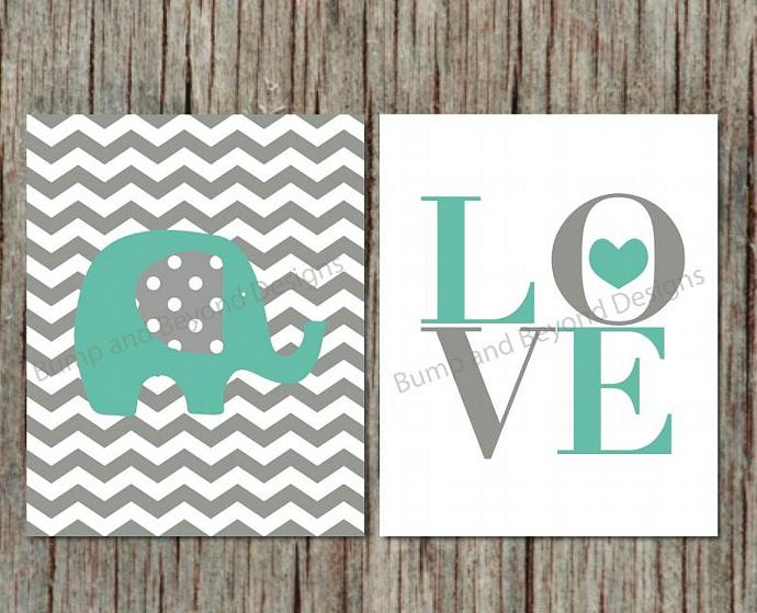 Nursery Decor Elephant Nursery Wall Art Printable Boy Kid Bedroom Wall Art Teal