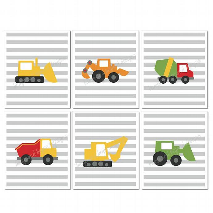 Boys Room Construction Wall Art Trucks Vehicles Set of 6 Digital Printable Grey