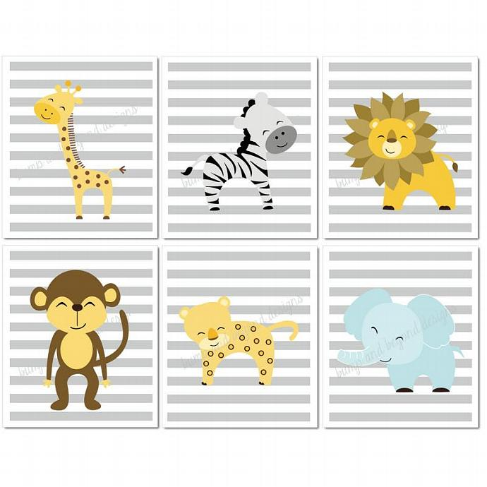 Jungle Nursery Wall Art Giraffe Lion Elephant Zebra Monkey Set Of 6  Printable